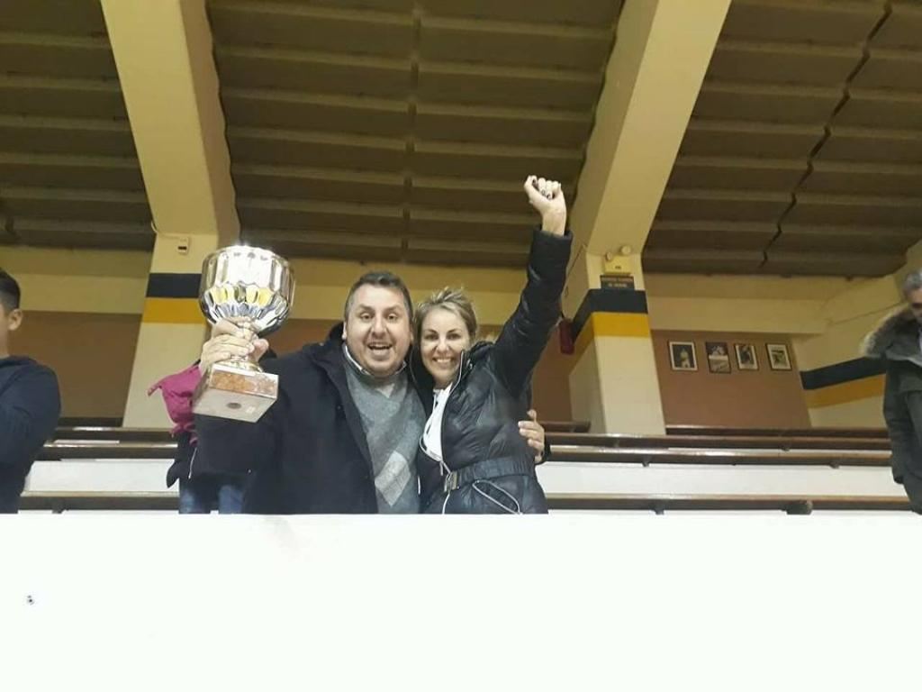 Kyriakos Kontaxian, President of ACT Alumni Association celebrates the big win with Alexandra Kostara, member of the Association
