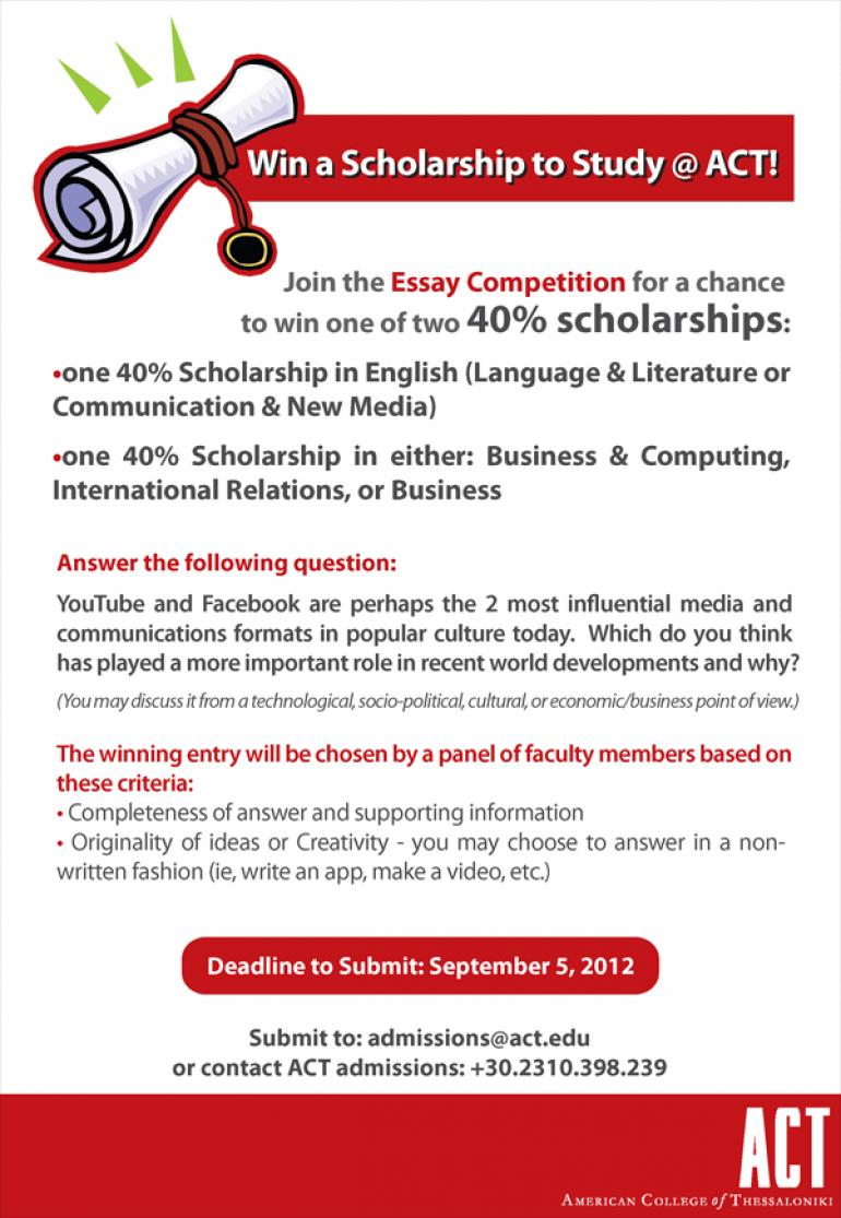 Join the Essay Competition for a chance to win one of two 40% scholarships
