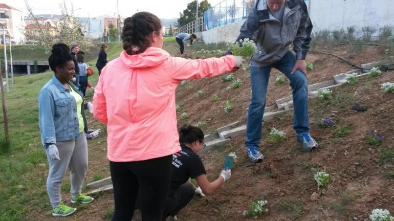 NUin students plant flowers at Elaiorema Park