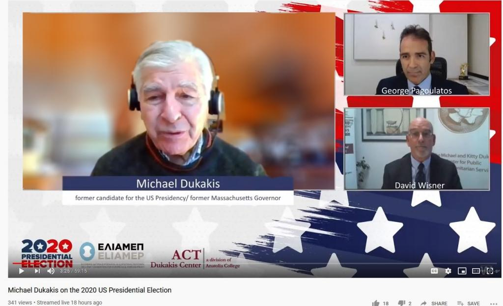 Dukakis Center and ELIAMEP co-host online discussion with Michael Dukakis